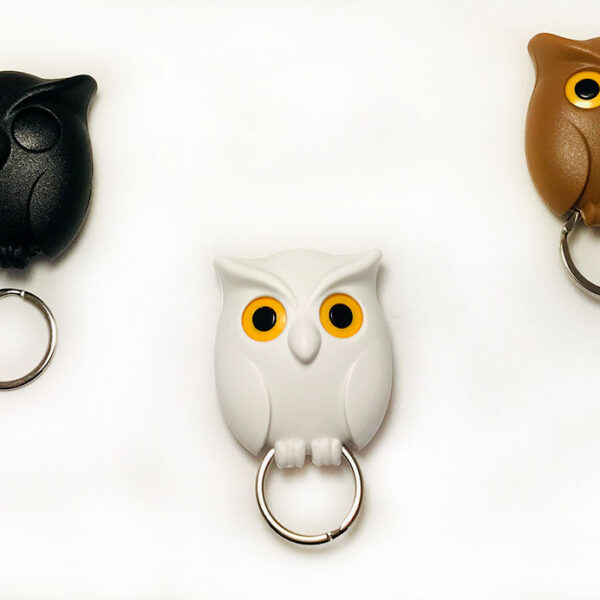 owl key rings brown, black and white