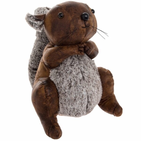 faux leather and fur squirrel furry toy doorstop