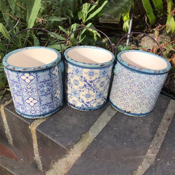 blue ceramic planters