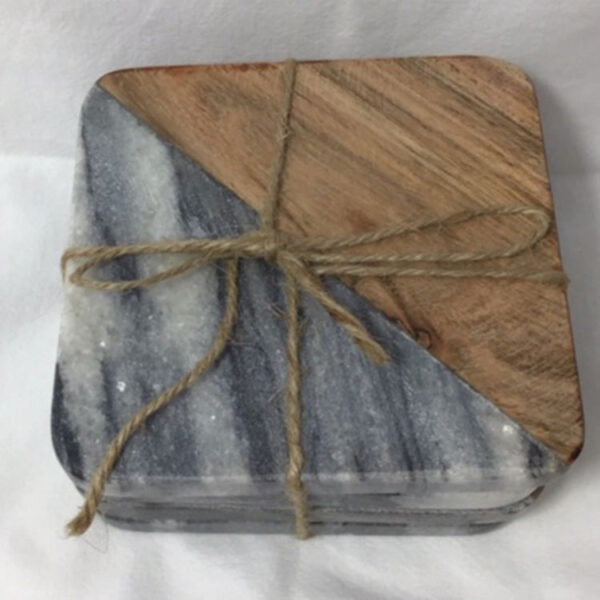 marble and wood coaster