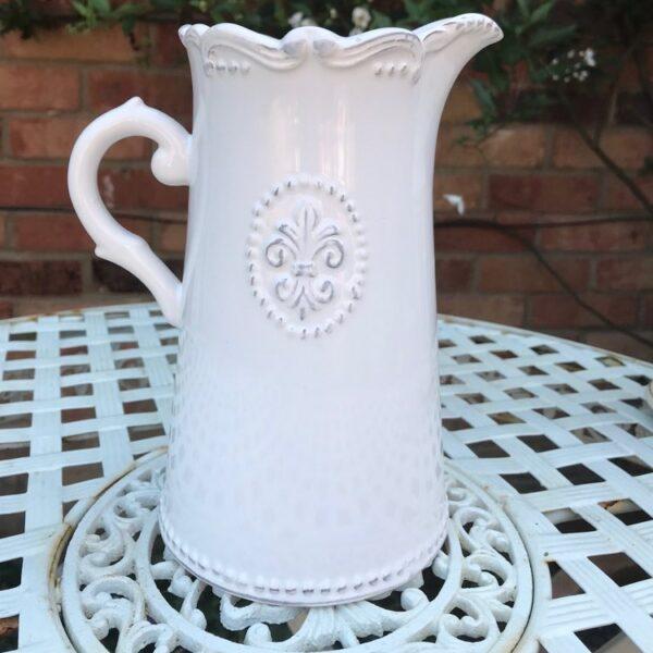 fleur de lys vintage style ceramic jug