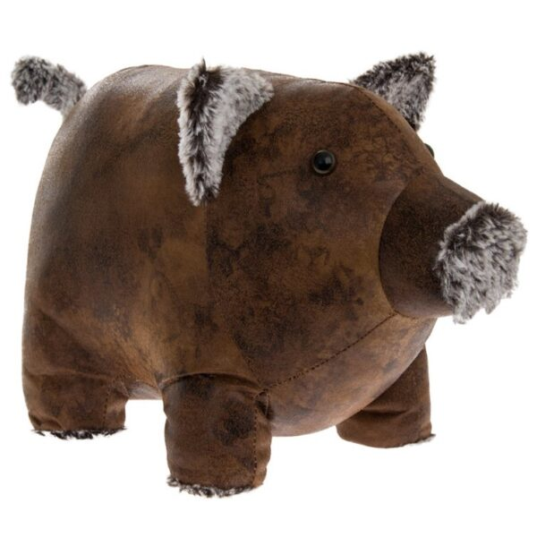 piggy doorstop faux leather fur