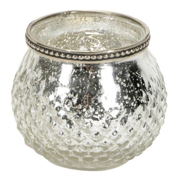 Silver textured t-light holder 10cm