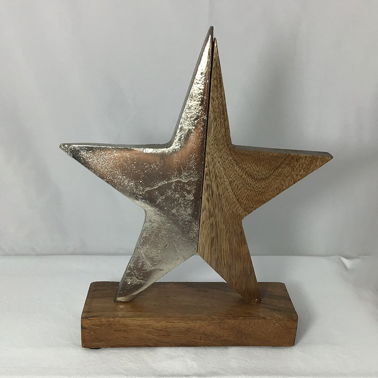 wooden star on stand christmas decoration