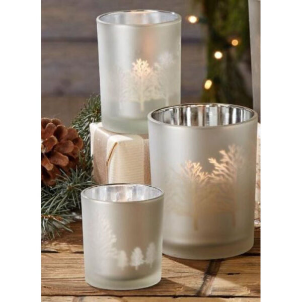 Silver Tree Silhouette T light Holders