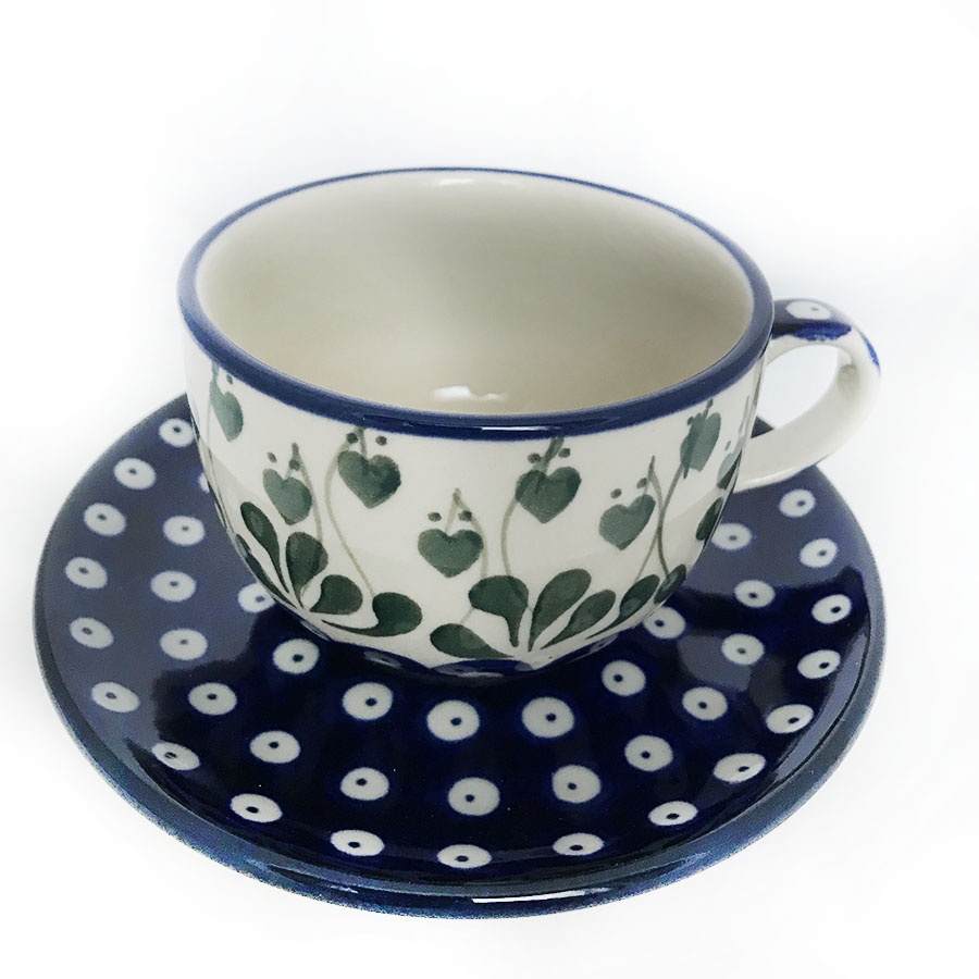 polish pottery tea cup and saucer online