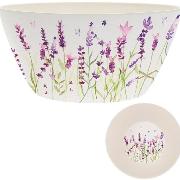 Floral bamboo salad bowl