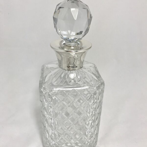 silver collared crystal decanter, buy online