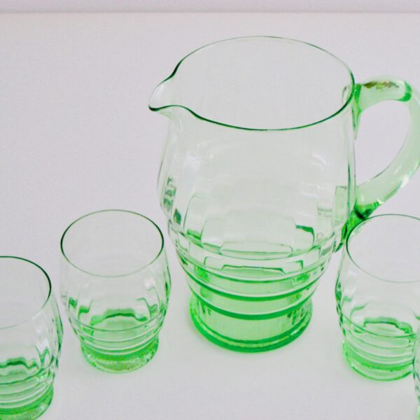 Lovely green glass jug and glasses, available online