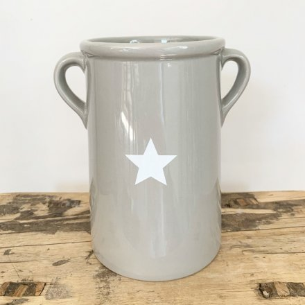 Large Grey Star Pot with handles for sale at www.qwinkydink.co.uk