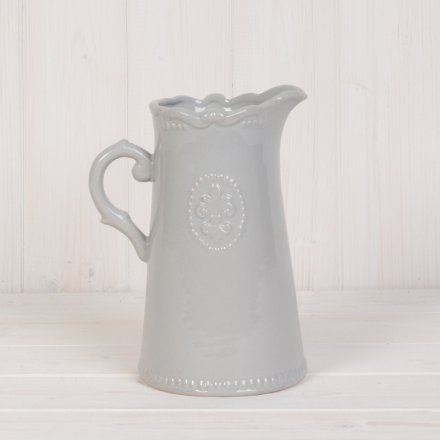Grey Ceramic Fleur de Lis Jug, buy online at www.qwinkydink.co.uk