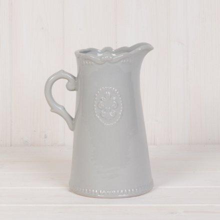Grey Ceramic Fleur de Lis Jug, buy online at www.qwinkydink.co.uk