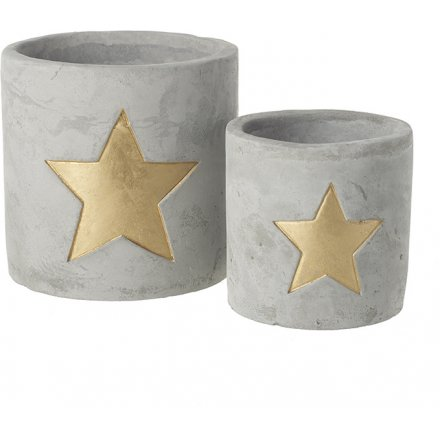 Cement star t-light holders, find them online at www.qwinkydink.co.uk