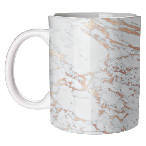 Rose Gold Marbleised Ceramic Mug available online at www.qwinkydink.co.uk