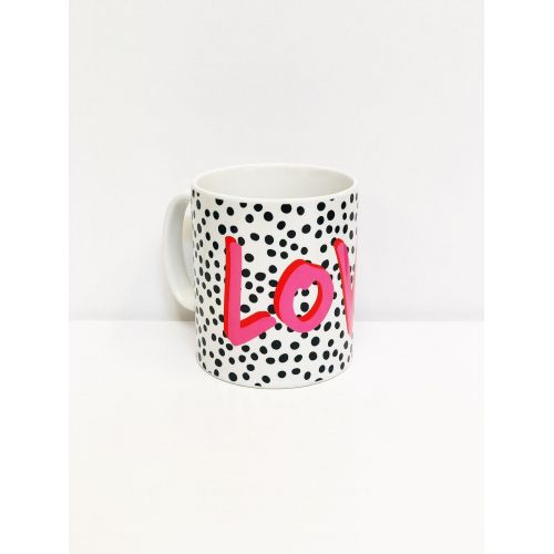 Love Polka Dot Ceramic Mug, buy it online at www.qwinkydink.co.uk