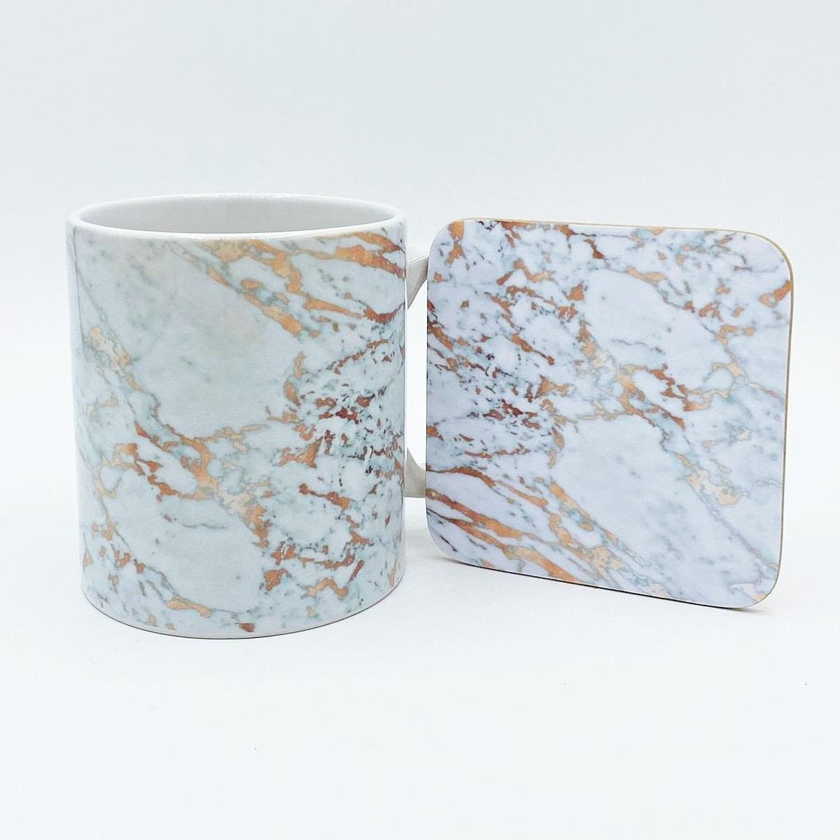 Rose Gold Marbleised Mug and coaster available to buy online at www.qwinkydink.co.uk